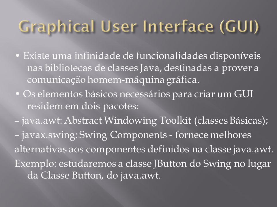 Existe uma infinidade de funcionalidades disponíveis nas bibliotecas de classes Java, destinadas a prover a comunicação homem-máquina gráfica. Os elem