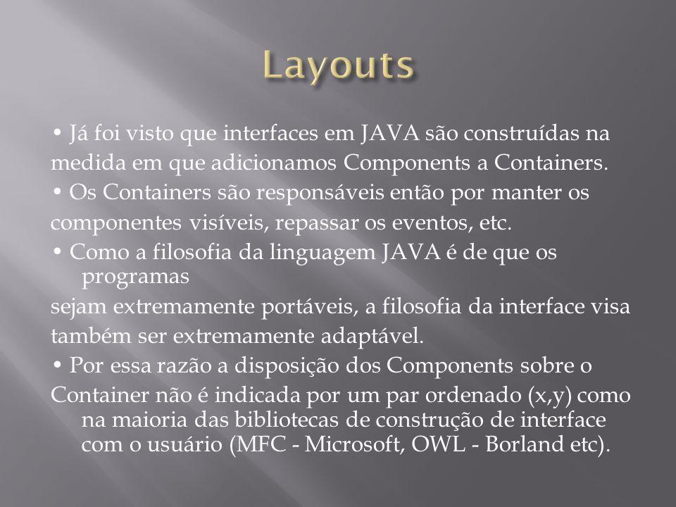Já foi visto que interfaces em JAVA são construídas na medida em que adicionamos Components a Containers. Os Containers são responsáveis então por man