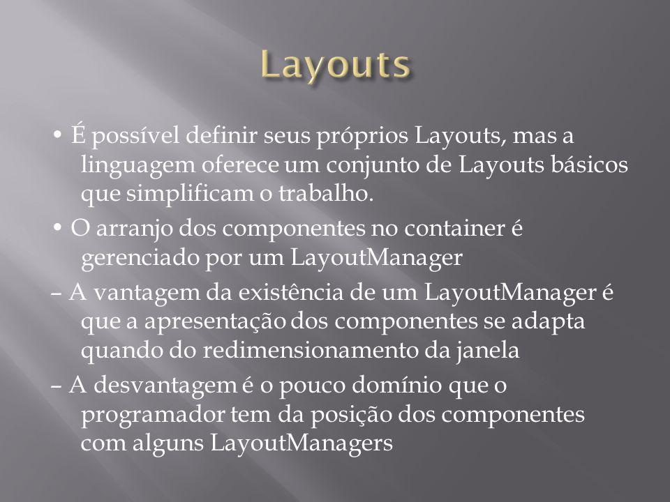 É possível definir seus próprios Layouts, mas a linguagem oferece um conjunto de Layouts básicos que simplificam o trabalho. O arranjo dos componentes