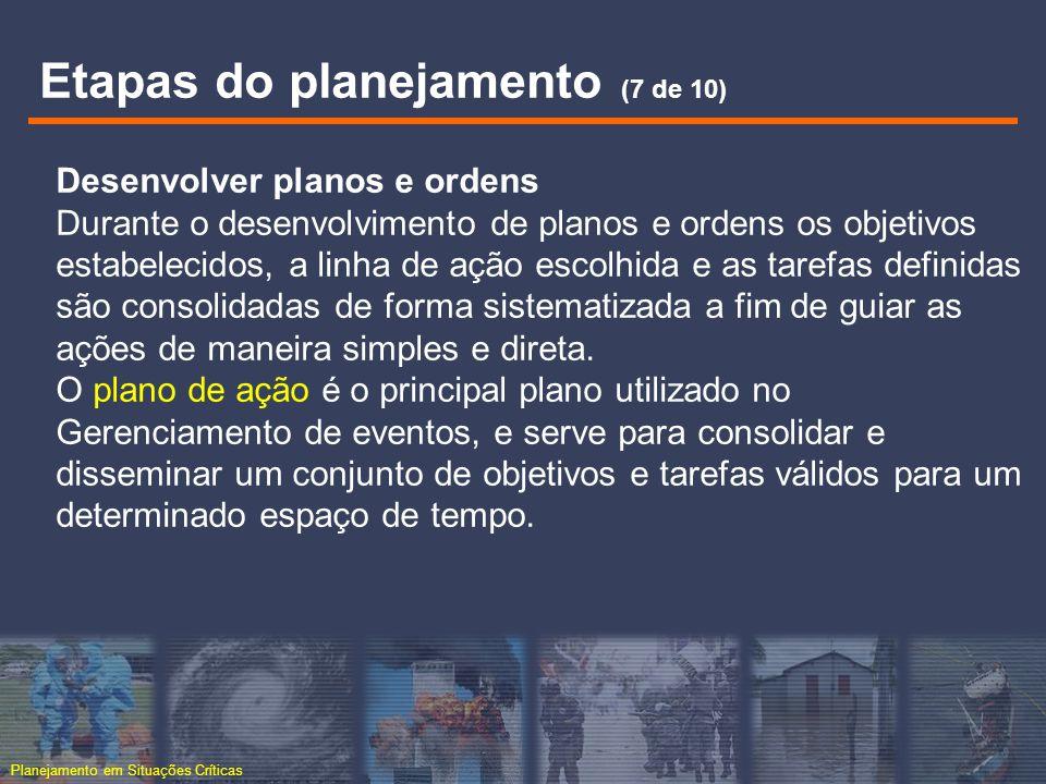Planejamento em Situações Críticas Desenvolver planos e ordens Durante o desenvolvimento de planos e ordens os objetivos estabelecidos, a linha de açã