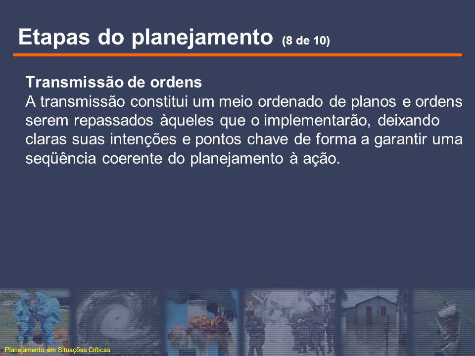 Planejamento em Situações Críticas Transmissão de ordens A transmissão constitui um meio ordenado de planos e ordens serem repassados àqueles que o im