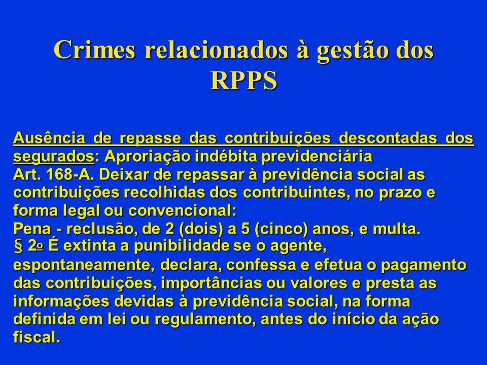 Crimes relacionados à gestão dos RPPS c) Irregularidade nos investimentos dos recursos: Portaria MPS nº 519/2011.