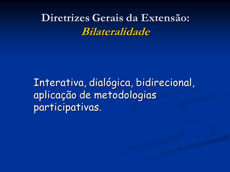 Diretrizes Gerais da Extensão: Bilateralidade Interativa, dialógica, bidirecional, aplicação de metodologias participativas.