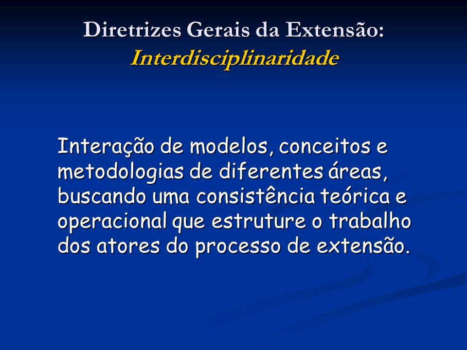 Diretrizes Gerais da Extensão: Interdisciplinaridade Interação de modelos, conceitos e metodologias de diferentes áreas, buscando uma consistência teó