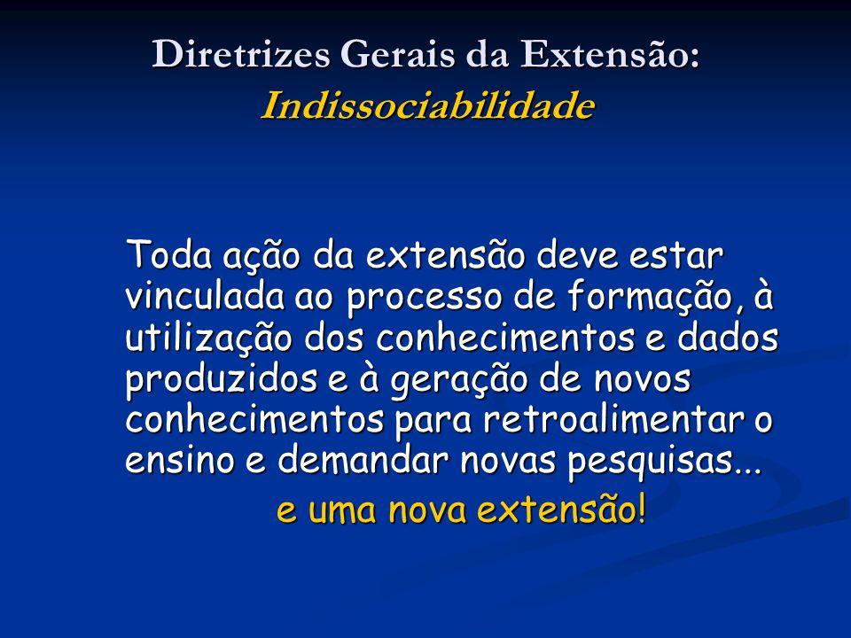 Diretrizes Gerais da Extensão: Indissociabilidade Toda ação da extensão deve estar vinculada ao processo de formação, à utilização dos conhecimentos e
