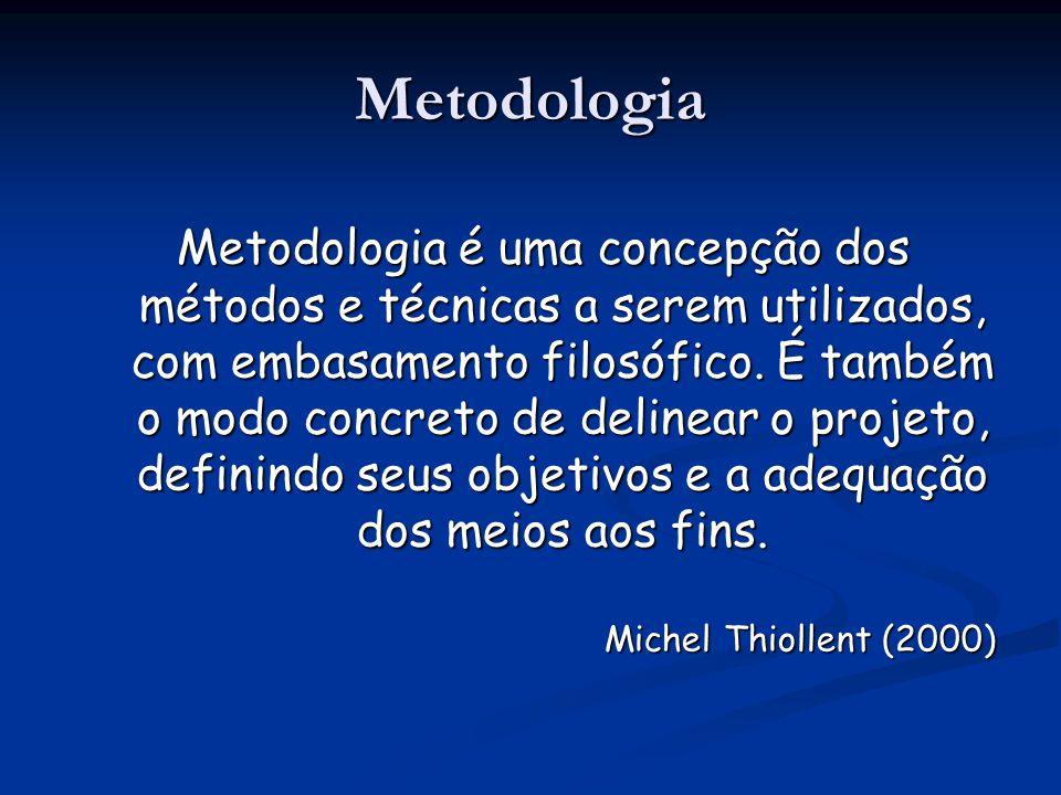 Metodologia Metodologia é uma concepção dos métodos e técnicas a serem utilizados, com embasamento filosófico. É também o modo concreto de delinear o
