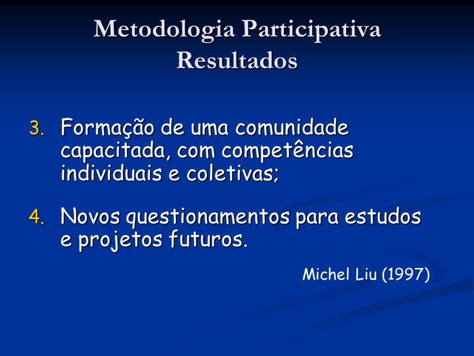 3. Formação de uma comunidade capacitada, com competências individuais e coletivas; 4. Novos questionamentos para estudos e projetos futuros. Michel L