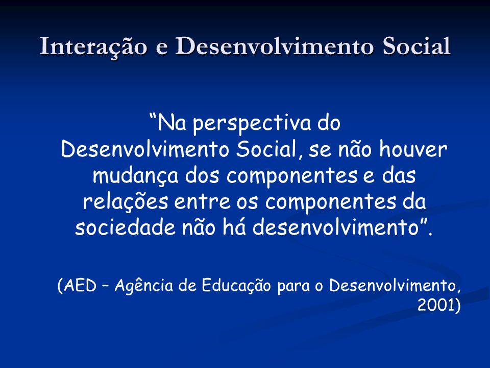 Na perspectiva do Desenvolvimento Social, se não houver mudança dos componentes e das relações entre os componentes da sociedade não há desenvolviment