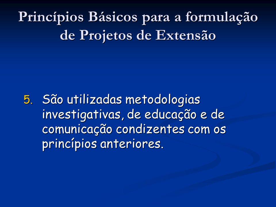 5. São utilizadas metodologias investigativas, de educação e de comunicação condizentes com os princípios anteriores. Princípios Básicos para a formul