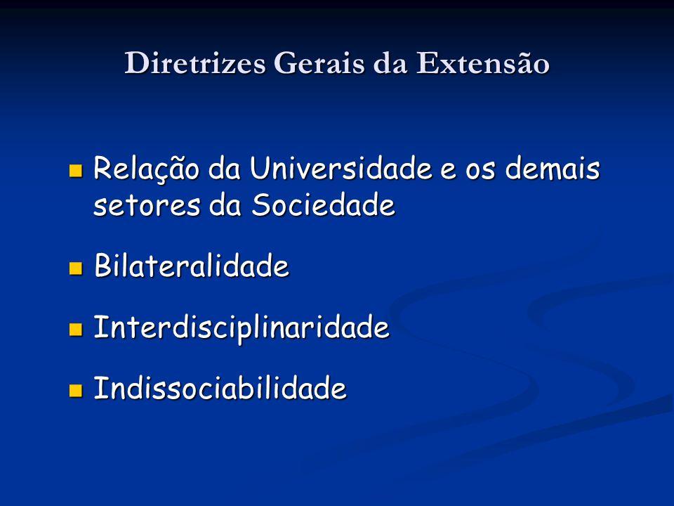 Diretrizes Gerais da Extensão Relação da Universidade e os demais setores da Sociedade Relação da Universidade e os demais setores da Sociedade Bilate