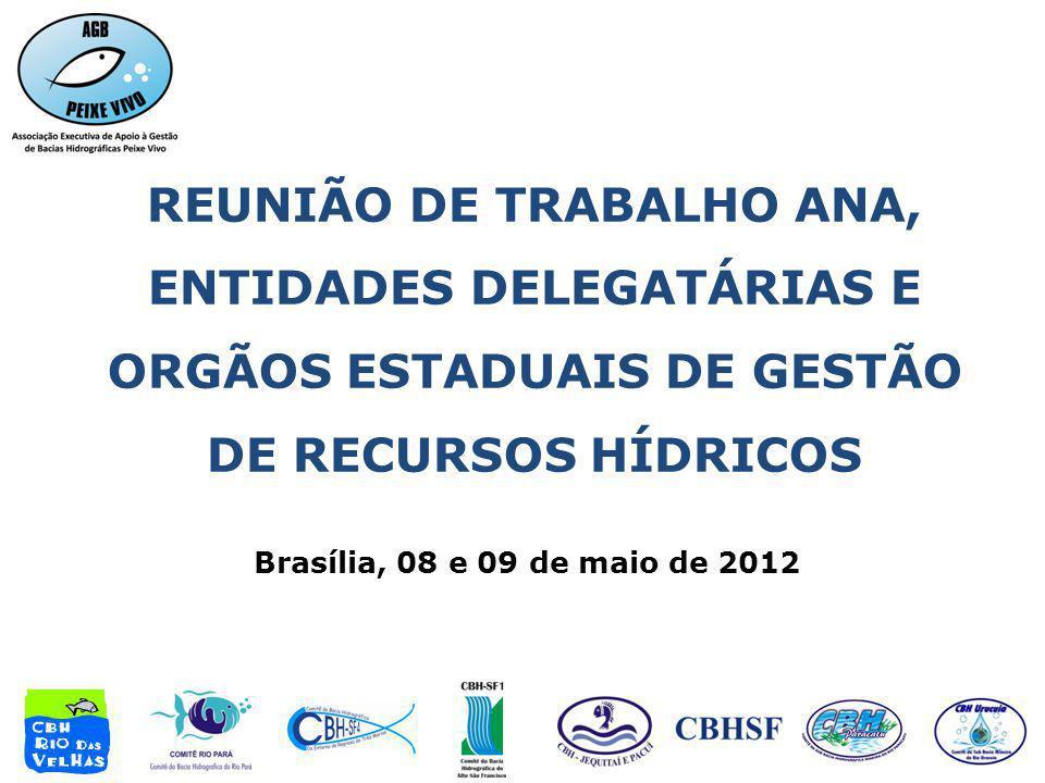 Brasília, 08 e 09 de maio de 2012 REUNIÃO DE TRABALHO ANA, ENTIDADES DELEGATÁRIAS E ORGÃOS ESTADUAIS DE GESTÃO DE RECURSOS HÍDRICOS