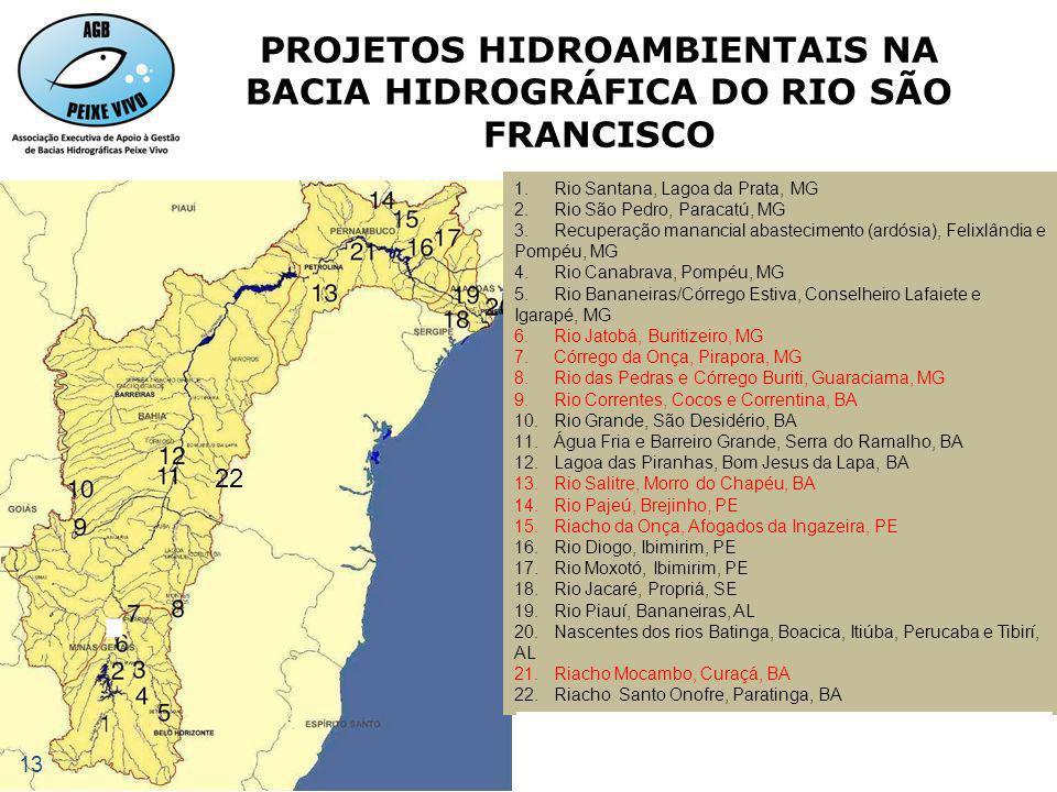PROJETOS HIDROAMBIENTAIS NA BACIA HIDROGRÁFICA DO RIO SÃO FRANCISCO 20. Rev. Nascentes rios Batinga, Boacica, Itiúba, Perucaba e Tibirí, AL 1.Rio Sant