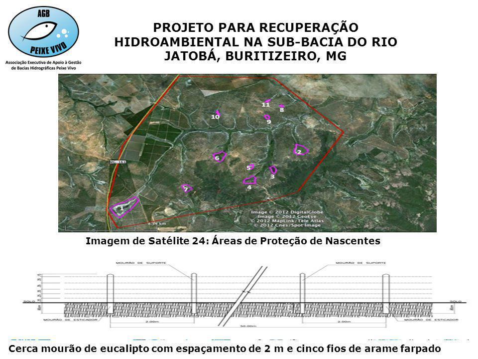 Imagem de Satélite 24: Áreas de Proteção de Nascentes PROJETO PARA RECUPERAÇÃO HIDROAMBIENTAL NA SUB-BACIA DO RIO JATOBÁ, BURITIZEIRO, MG Cerca mourão