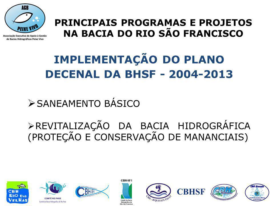 PRINCIPAIS PROGRAMAS E PROJETOS NA BACIA DO RIO SÃO FRANCISCO IMPLEMENTAÇÃO DO PLANO DECENAL DA BHSF - 2004-2013 SANEAMENTO BÁSICO REVITALIZAÇÃO DA BA