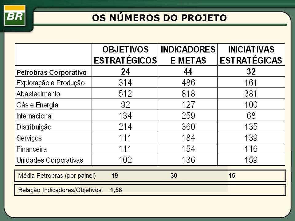 Média Petrobras (por painel) 19 30 15 Relação Indicadores/Objetivos: 1,58 OS NÚMEROS DO PROJETO