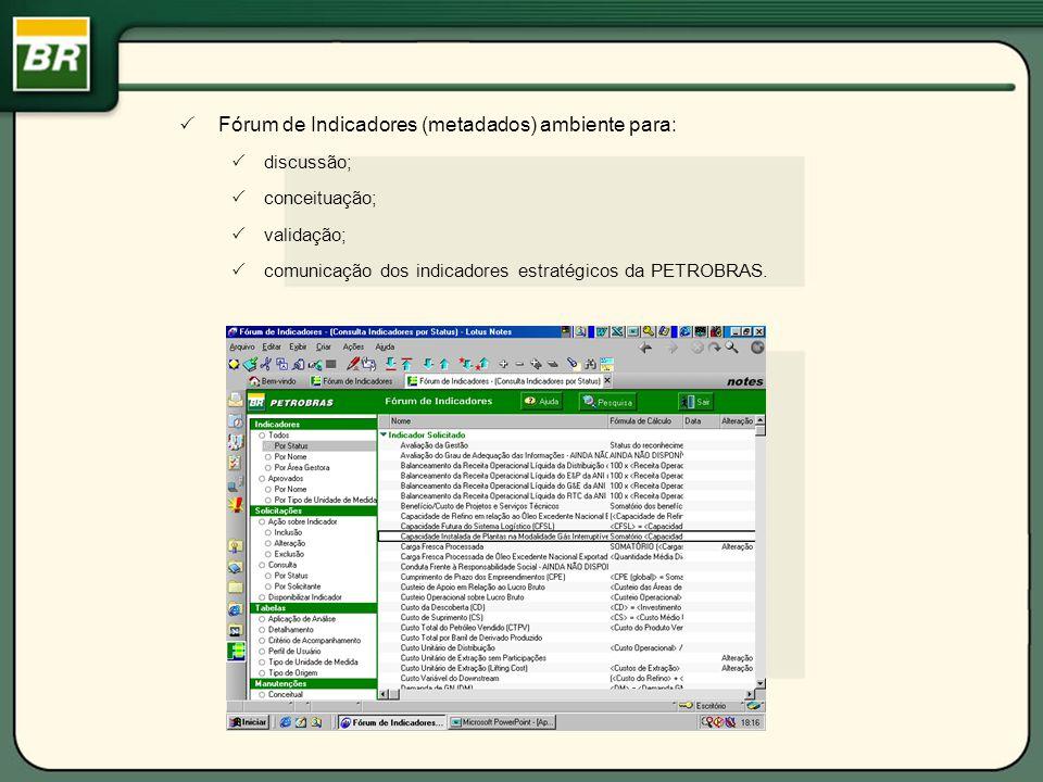Fórum de Indicadores (metadados) ambiente para: discussão; conceituação; validação; comunicação dos indicadores estratégicos da PETROBRAS.
