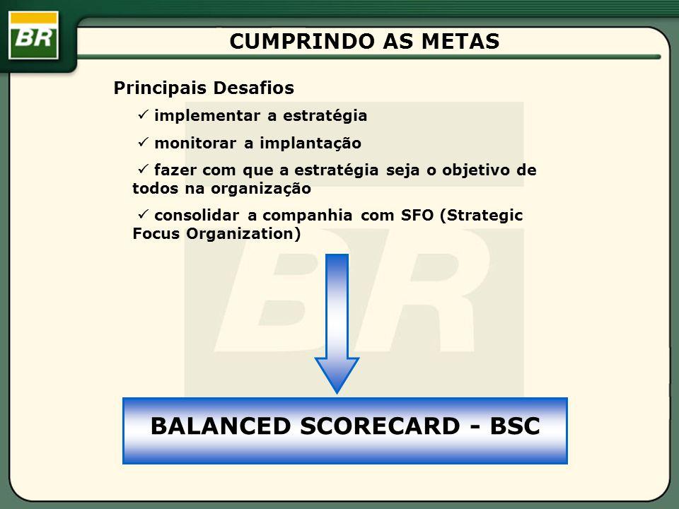 CUMPRINDO AS METAS Principais Desafios implementar a estratégia monitorar a implantação fazer com que a estratégia seja o objetivo de todos na organização consolidar a companhia com SFO (Strategic Focus Organization) BALANCED SCORECARD - BSC