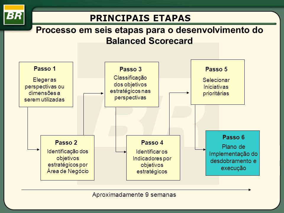 Processo em seis etapas para o desenvolvimento do Balanced Scorecard Passo 1 Identificação dos objetivos estratégicos por Área de Negócio Passo 3 Classificação dos objetivos estratégicos nas perspectivas Passo 2Passo 4 Identificar os Indicadores por objetivos estratégicos Passo 5 Selecionar Iniciativas prioritárias Passo 6 Plano de Implementação do desdobramento e execução Aproximadamente 9 semanas Eleger as perspectivas ou dimensões a serem utilizadas PRINCIPAIS ETAPAS