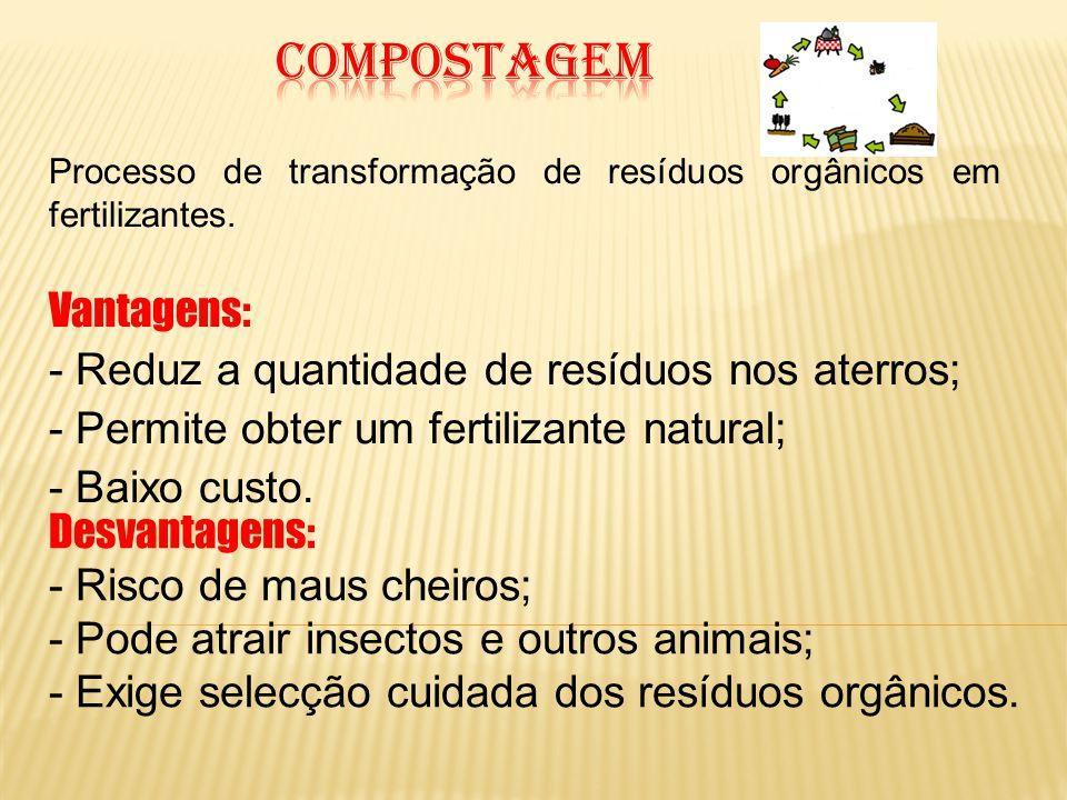 Processo de transformação de resíduos orgânicos em fertilizantes. Vantagens: - Reduz a quantidade de resíduos nos aterros; - Permite obter um fertiliz