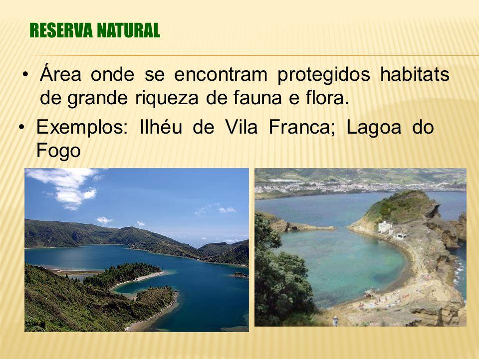 RESERVA NATURAL Área onde se encontram protegidos habitats de grande riqueza de fauna e flora. Exemplos: Ilhéu de Vila Franca; Lagoa do Fogo