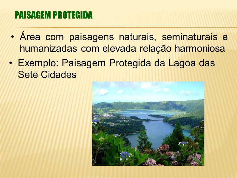 PAISAGEM PROTEGIDA Área com paisagens naturais, seminaturais e humanizadas com elevada relação harmoniosa Exemplo: Paisagem Protegida da Lagoa das Set