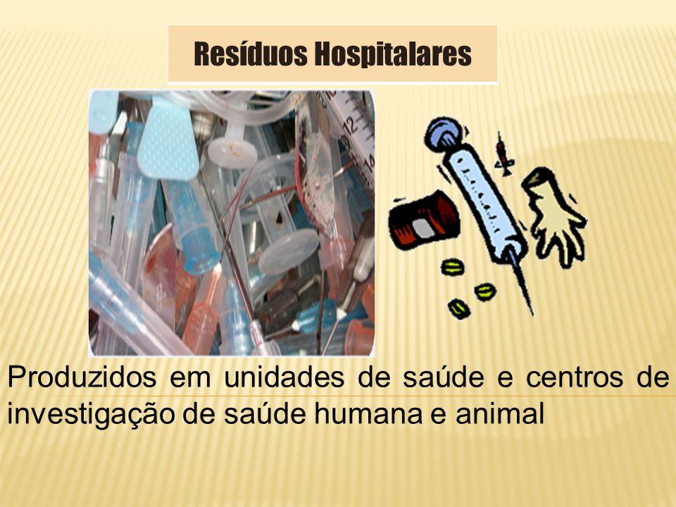 Produzidos em unidades de saúde e centros de investigação de saúde humana e animal Resíduos Hospitalares