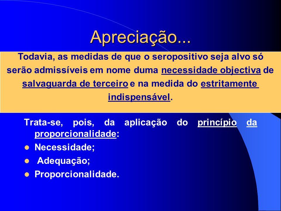 Apreciação... Trata-se, pois, da aplicação do princípio da proporcionalidade: Necessidade; Adequação; Proporcionalidade. Todavia, as medidas de que o
