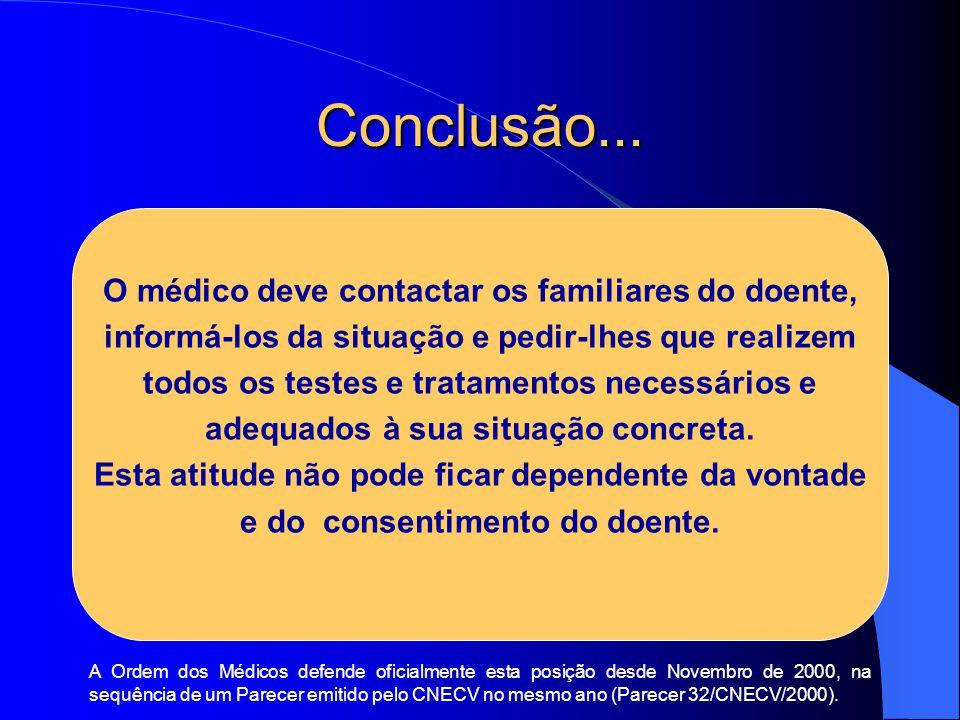 Conclusão... O médico deve contactar os familiares do doente, informá-los da situação e pedir-lhes que realizem todos os testes e tratamentos necessár