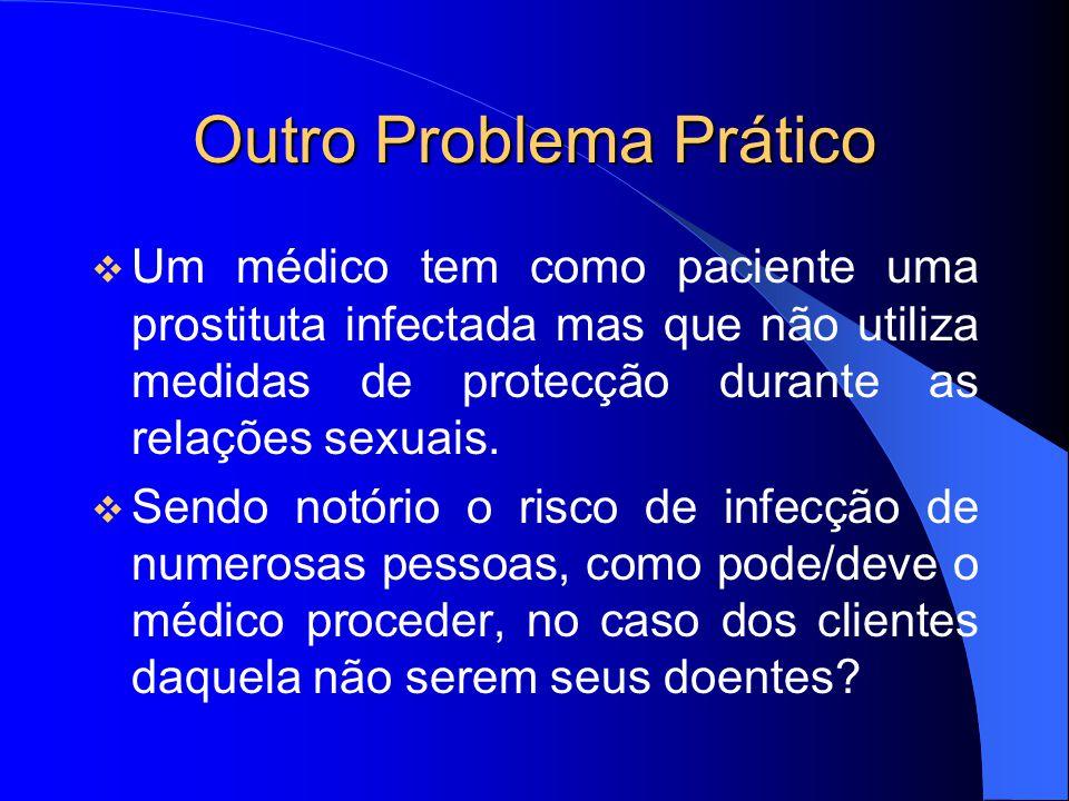 Outro Problema Prático Um médico tem como paciente uma prostituta infectada mas que não utiliza medidas de protecção durante as relações sexuais. Send