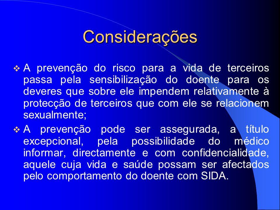 Considerações A prevenção do risco para a vida de terceiros passa pela sensibilização do doente para os deveres que sobre ele impendem relativamente à