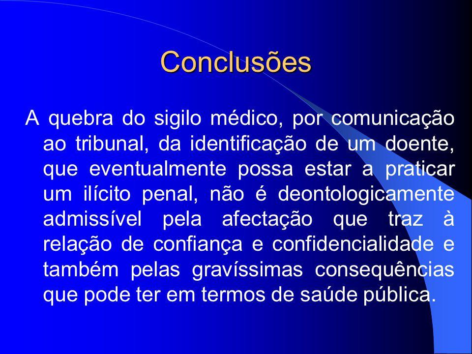 Conclusões A quebra do sigilo médico, por comunicação ao tribunal, da identificação de um doente, que eventualmente possa estar a praticar um ilícito