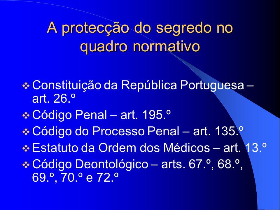 A protecção do segredo no quadro normativo Constituição da República Portuguesa – art. 26.º Código Penal – art. 195.º Código do Processo Penal – art.