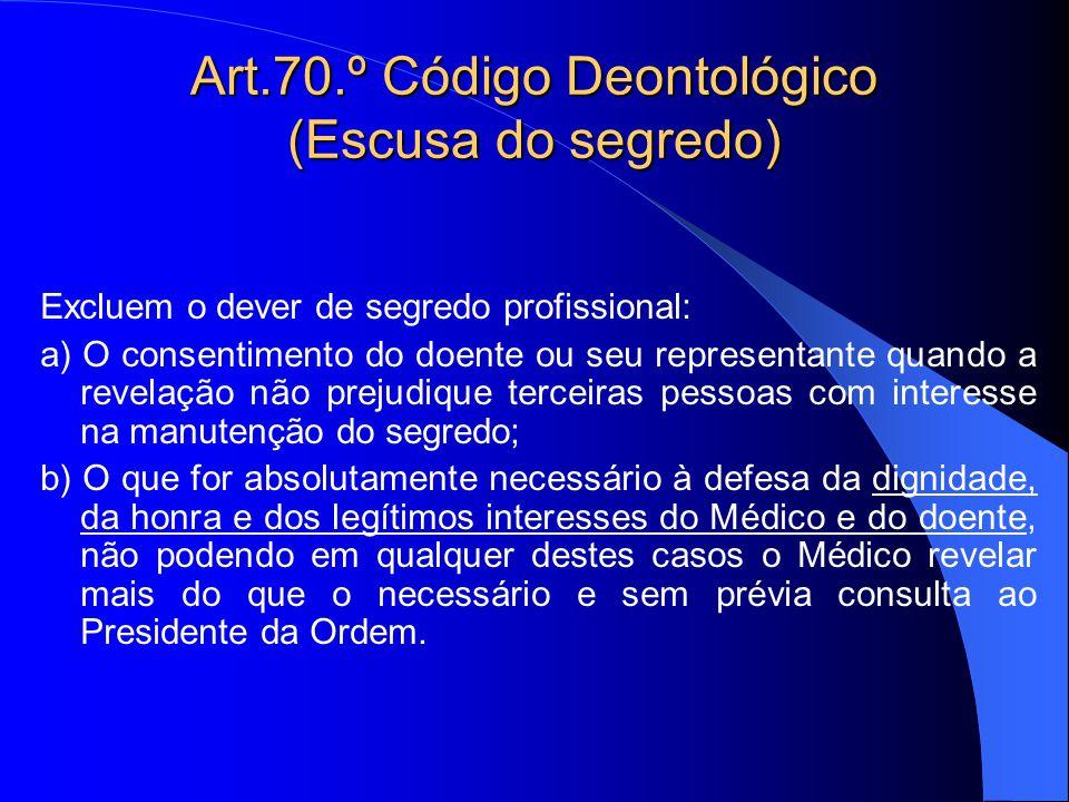 Art.70.º Código Deontológico (Escusa do segredo) Excluem o dever de segredo profissional: a) O consentimento do doente ou seu representante quando a r