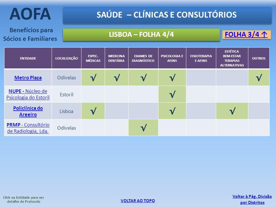 SAÚDE – CLÍNICAS E CONSULTÓRIOS AOFA Benefícios para Sócios e Familiares LISBOA – FOLHA 4/4 FOLHA 3/4 VOLTAR AO TOPO Click na Entidade para ver detalh