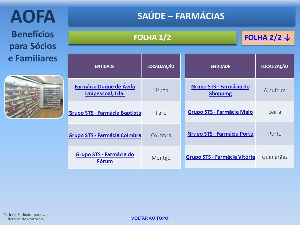 FOLHA 1/2 SAÚDE – FARMÁCIAS AOFA Benefícios para Sócios e Familiares ENTIDADELOCALIZAÇÃO Farmácia Duque de Ávila Unipessoal, Lda. Lisboa Grupo STS - F