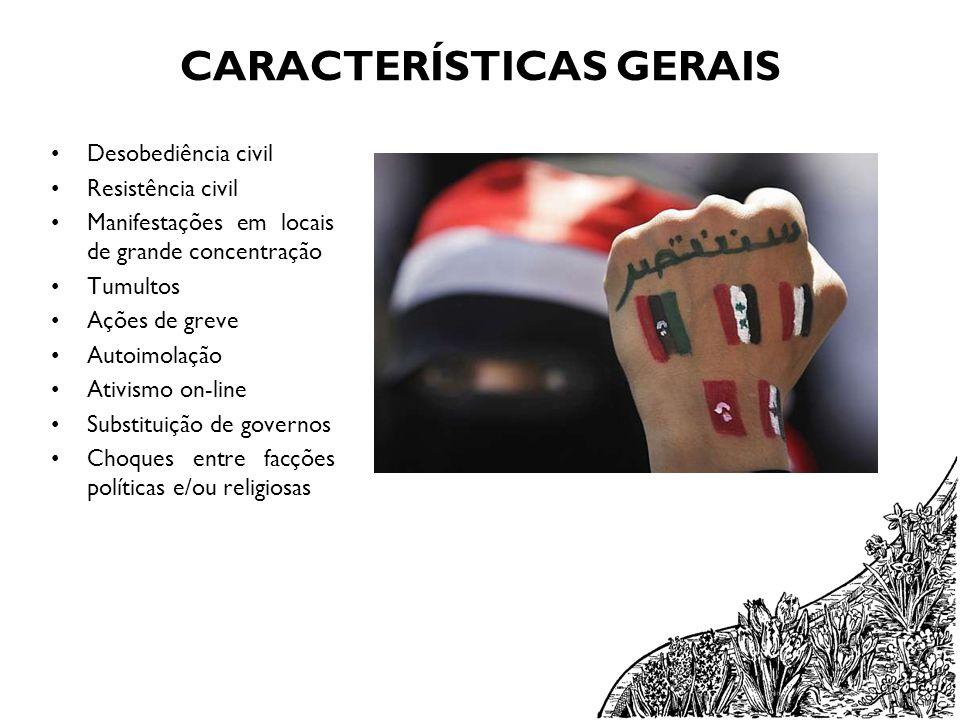 CARACTERÍSTICAS GERAIS Desobediência civil Resistência civil Manifestações em locais de grande concentração Tumultos Ações de greve Autoimolação Ativi