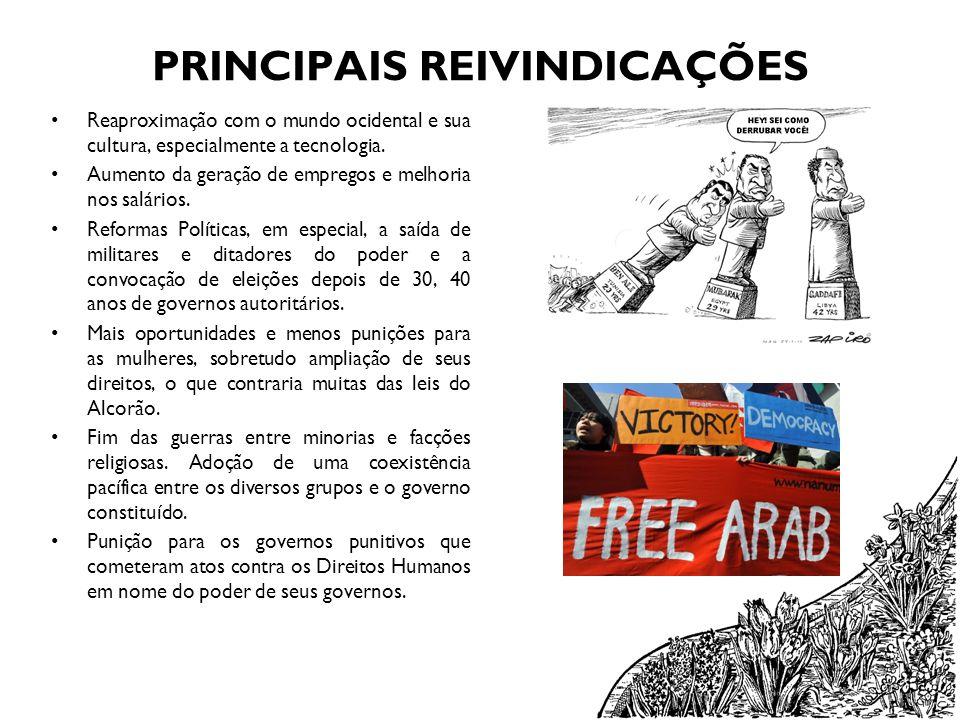 PRINCIPAIS REIVINDICAÇÕES Reaproximação com o mundo ocidental e sua cultura, especialmente a tecnologia. Aumento da geração de empregos e melhoria nos