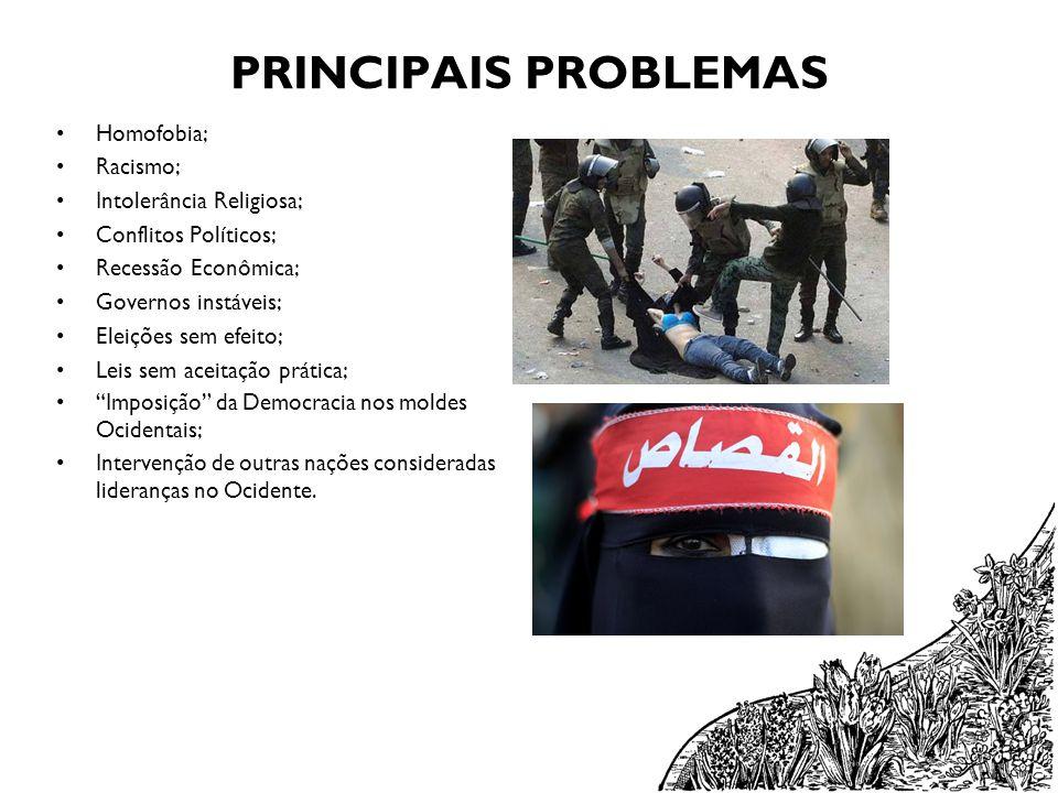 PRINCIPAIS PROBLEMAS Homofobia; Racismo; Intolerância Religiosa; Conflitos Políticos; Recessão Econômica; Governos instáveis; Eleições sem efeito; Lei