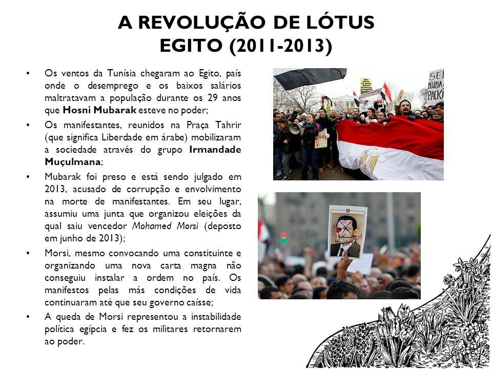 A REVOLUÇÃO DE LÓTUS EGITO (2011-2013) Os ventos da Tunísia chegaram ao Egito, país onde o desemprego e os baixos salários maltratavam a população dur