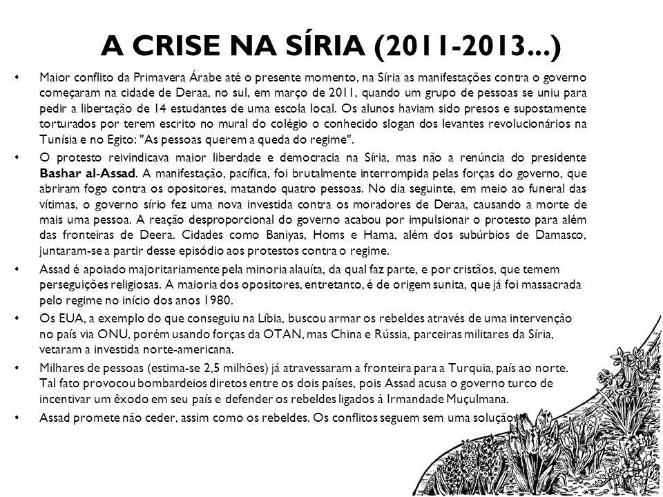 A CRISE NA SÍRIA (2011-2013...) Maior conflito da Primavera Árabe até o presente momento, na Síria as manifestações contra o governo começaram na cida