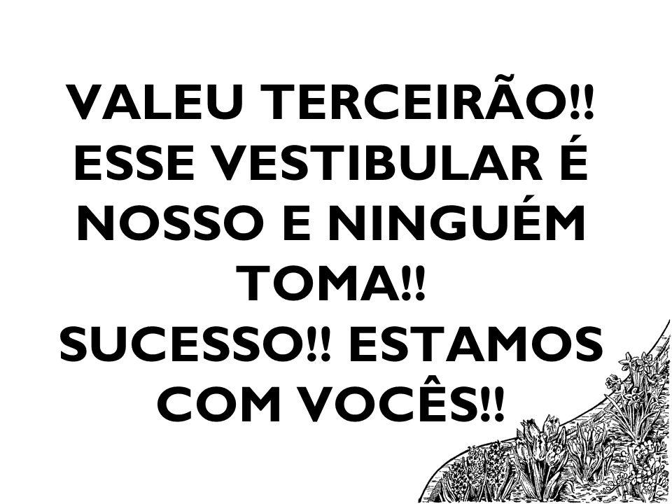 VALEU TERCEIRÃO!! ESSE VESTIBULAR É NOSSO E NINGUÉM TOMA!! SUCESSO!! ESTAMOS COM VOCÊS!!