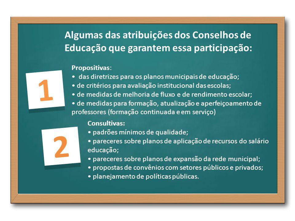 Algumas das atribuições dos Conselhos de Educação que garantem essa participação: 1 1 Propositivas: das diretrizes para os planos municipais de educaç