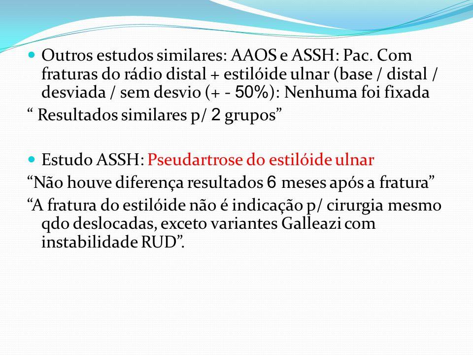 Outros estudos similares: AAOS e ASSH: Pac.