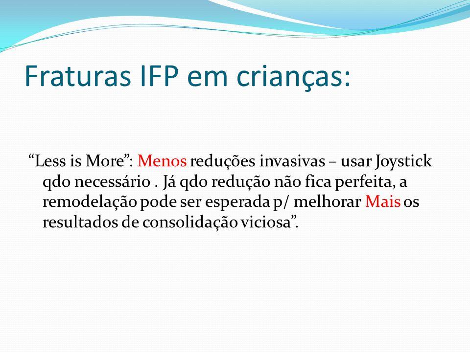 Fraturas IFP em crianças: Less is More: Menos reduções invasivas – usar Joystick qdo necessário.
