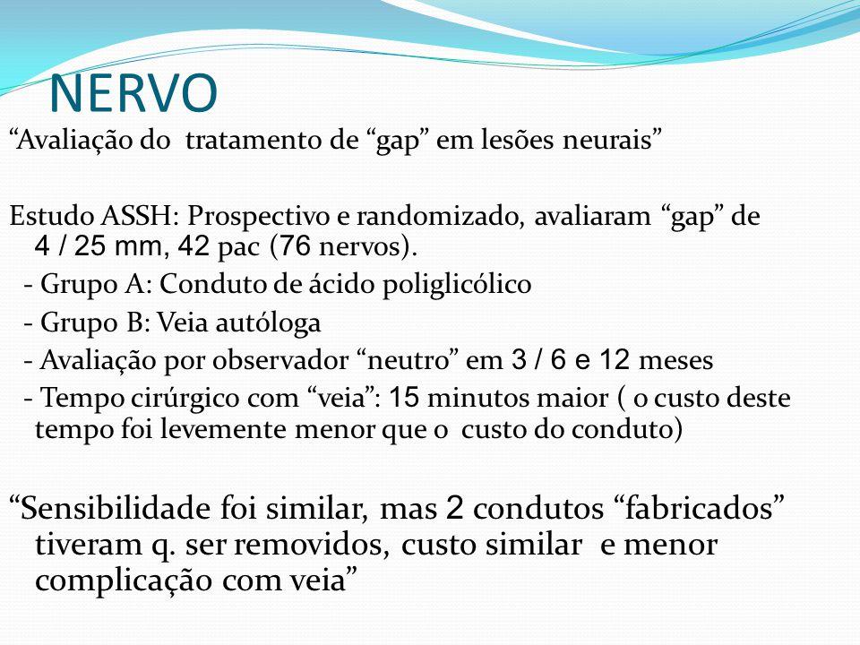 NERVO Avaliação do tratamento de gap em lesões neurais Estudo ASSH: Prospectivo e randomizado, avaliaram gap de 4 / 25 mm, 42 pac ( 76 nervos).