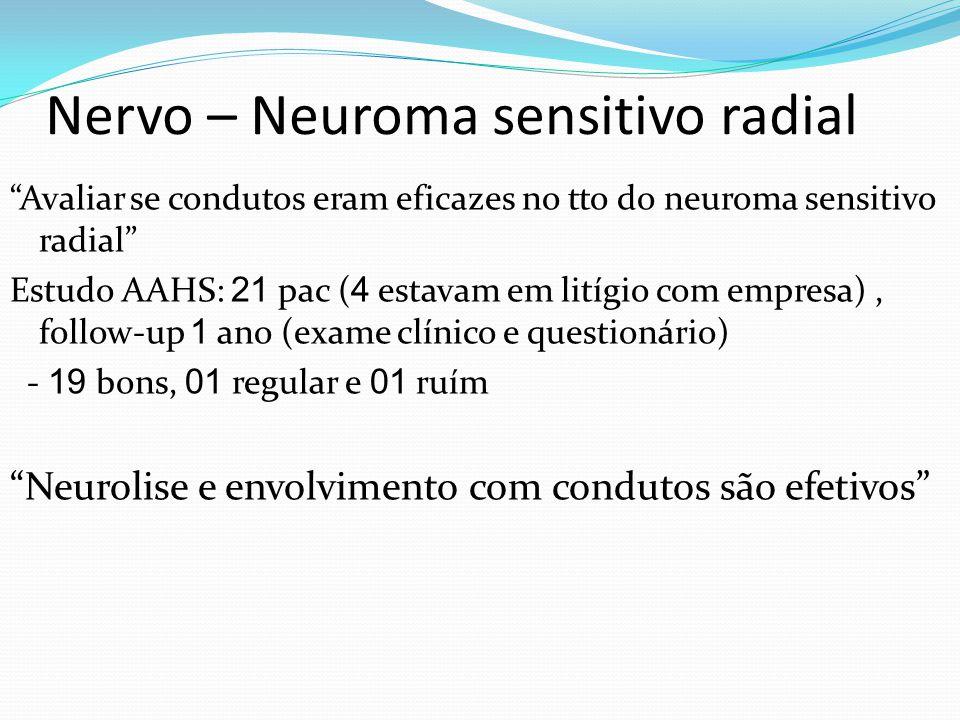 Nervo – Neuroma sensitivo radial Avaliar se condutos eram eficazes no tto do neuroma sensitivo radial Estudo AAHS: 21 pac ( 4 estavam em litígio com empresa), follow-up 1 ano (exame clínico e questionário) - 19 bons, 01 regular e 01 ruím Neurolise e envolvimento com condutos são efetivos