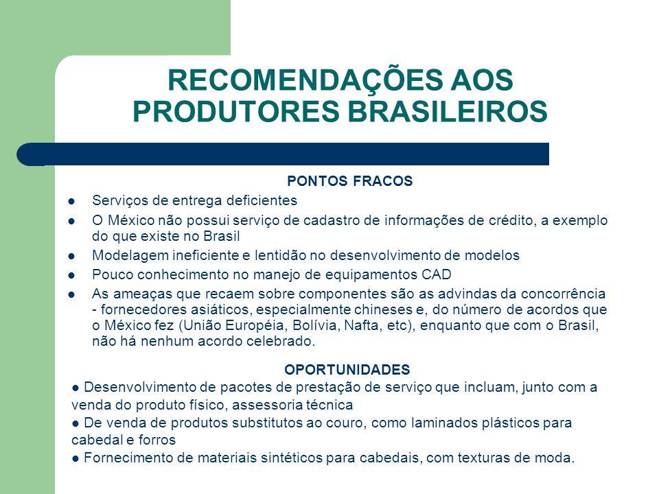 RECOMENDAÇÕES AOS PRODUTORES BRASILEIROS PONTOS FORTES O México é o segundo mercado da América Latina de máquinas e componentes para couro e calçados