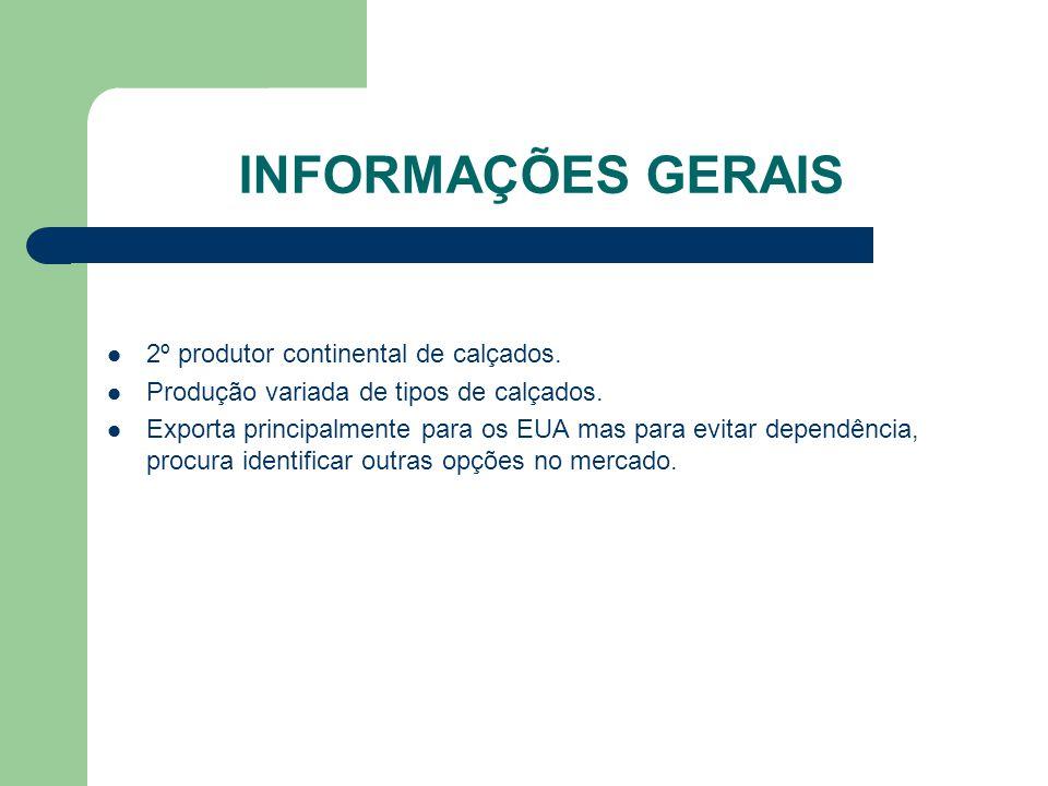 INFORMAÇÕES GERAIS 2º produtor continental de calçados.