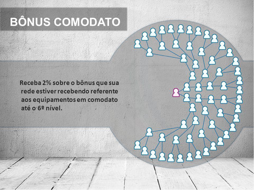 BÔNUS COMODATO Receba 2% sobre o bônus que sua rede estiver recebendo referente aos equipamentos em comodato até o 6º nível.