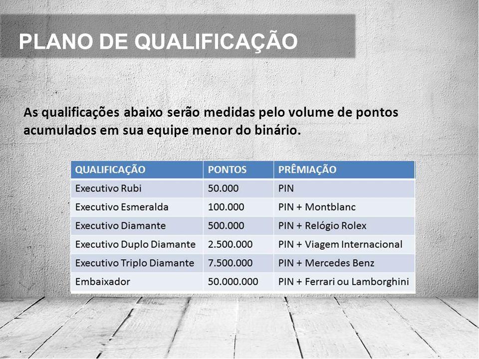 PLANO DE QUALIFICAÇÃO. As qualificações abaixo serão medidas pelo volume de pontos acumulados em sua equipe menor do binário.
